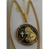 Gold Damascene Virgin Mary Round Pendant on Chain Necklace by Midas of Toledo Spain style 4217