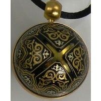 Gold Damascene Angel Caller Sphere Pendant on Cord Necklace with a Geometric Design by Midas of Toledo Spain Style 8250GEO