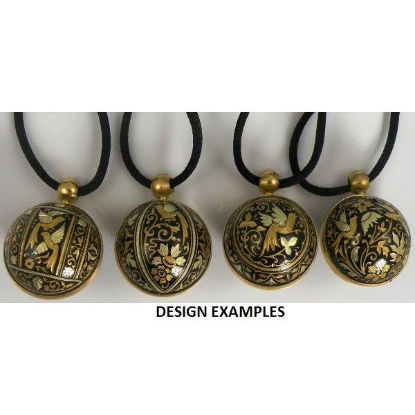 Damascene angel callers handcrafted in toledo spain gold damascene angel caller sphere pendant on cord necklace with a dove design by midas of mozeypictures Choice Image