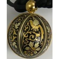 Gold Damascene Angel Caller Sphere Pendant on Cord Necklace with a Dove Design by Midas of Toledo Spain Style 8251BIRD