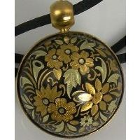 Gold Damascene Angel Caller Sphere Pendant on Cord Necklace with a Flower Design by Midas of Toledo Spain Style 8251FLOWER