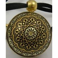Gold Damascene Angel Caller Sphere Pendant on Cord Necklace with a Geometric Design by Midas of Toledo Spain Style 8251GEO