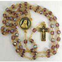 Gold Damascene Purple Crystal Rosary Beads with a Crucifix Design by Midas of Toledo Spain Style 8600-1Jesus