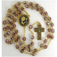 Gold Damascene Purple Crystal Rosary Beads with a Crown of Thorns Design by Midas of Toledo Spain Style 8600-1Thorn
