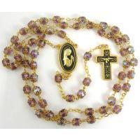 Gold Damascene Purple Crystal Rosary Beads with a Dove Design by Midas of Toledo Spain Style 8600DOVE