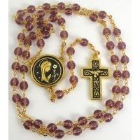 Gold Damascene Purple Crystal Rosary Beads with a Dove Design by Midas of Toledo Spain Style 8601-1Dove