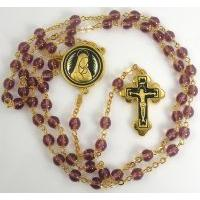 Gold Damascene Purple Crystal Rosary Beads with a Crucifix Design by Midas of Toledo Spain Style 8601-1Jesus