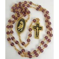 Gold Damascene Purple Crystal Rosary Beads with a Crucifix Design by Midas of Toledo Spain Style 8601Jesus