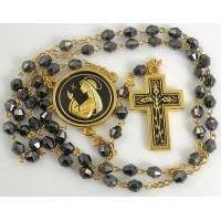 Gold Damascene Black Crystal Rosary Beads with a Crown of Thorns Design by Midas of Toledo Spain Style 8602-1Thorn