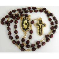Gold Damascene Red Wine Rosary Beads with a Chalice Design by Midas of Toledo Spain Style 8603Chalice