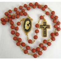 Gold Damascene Coral Color Rosary Beads with a Dove Design by Midas of Toledo Spain Style 8604Dove