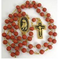 Gold Damascene Coral Color Rosary Beads with a Crucifix Design by Midas of Toledo Spain Style 8604Jesus