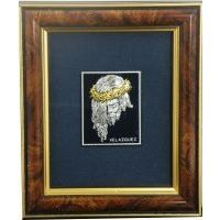 Framed Portrait of Jesus Christ crafted in Silver and Gold Damascene by Midas of Toledo Spain Style 94619-1JESUS
